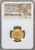Ancients:Roman Imperial, Ancients: Valentinian II (AD 375-392). AV solidus (4.41 gm). NGC AU5/5 - 4/5....