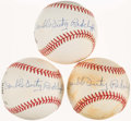 "Autographs:Baseballs, Theodore ""Double Duty"" Radcliffe Single Signed Baseballs Lot of 3...."
