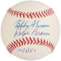 Autographs:Baseballs, Bobby Thomson and Ralph Branca Multi Signed Baseball. ...