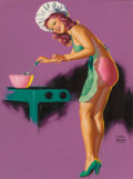 Pin-up and Glamour Art, Earl Moran (American, 1893-1984). In the Kitchen, Brown &Bigelow calendar illustration. Pastel on board. 23.5 x 17.5in...