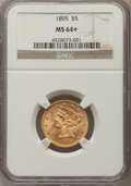 Liberty Half Eagles: , 1895 $5 MS64+ NGC. NGC Census: (482/89 and 14/4+). PCGS Population: (186/29 and 9/0+). CDN: $680 Whsle. Bid for problem-fre...