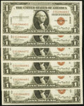 Fr. 2300 $1 1935A Hawaii Silver Certificates. Six Examples