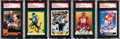 Autographs:Sports Cards, Signed 1990's Topps & Pro Set Football Stars & HoFers Card Collection (5). ...