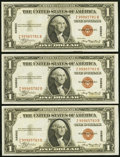 Small Size:World War II Emergency Notes, Fr. 2300 $1 1935A Hawaii Silver Certificates. Three Consecutive Examples. About Uncirculated or Better.. ... (Total: 3 notes)