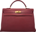 Luxury Accessories:Bags, Hermes 40cm Rouge H Ardennes Leather Retourne Kelly Bag with Gold Hardware. O Circle, 1985. Very Good to Excellent Con...