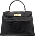 "Luxury Accessories:Bags, Hermes 28cm Shiny Black Crocodile Sellier Kelly Bag with GoldHardware. Circa 1960's. Good Condition. 11"" Widthx ..."