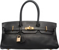Luxury Accessories:Bags, Hermes 42cm Black Clemence Leather JPG Shoulder Birkin Bag with Gold Hardware. I Square, 2005. Good to Very Good Condi...