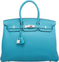 "Luxury Accessories:Bags, Hermes 35cm Turquoise Togo Leather Birkin Bag with PalladiumHardware. R Square, 2014. Pristine Condition. 14""Wid..."