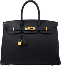 Hermes 35cm Blue Ocean Clemence Leather Birkin Bag with Gold Hardware R Square, 2014 Excellent Co