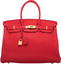 Luxury Accessories:Bags, Hermes 35cm Rouge Casaque Clemence Leather Birkin Bag with GoldHardware. Q Square, 2013. Excellent to PristineCondit...
