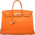 "Luxury Accessories:Bags, Hermes 40cm Orange H Togo Leather Birkin Bag with Palladium Hardware. N Square, 2010. Very Good Condition. 15.5"" Width x 1..."
