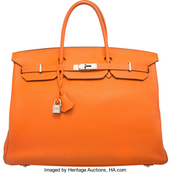 906e97b5b7 Hermes 40cm Orange H Togo Leather Birkin Bag with