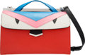 "Luxury Accessories:Bags, Fendi Red, Blue, Pink & White Leather Monster Demi Jour Bag.Excellent Condition. 9"" Width x 6"" Height x 4.5""Depth..."
