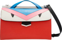 """Fendi Red, Blue, Pink & White Leather Monster Demi Jour Bag Excellent Condition 9"""" Width x 6"""" Hei"""