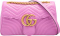 "Luxury Accessories:Bags, Gucci Pink Quilted Leather Marmont Matelasse Bag. Excellent toPristine Condition. 12"" Width x 7.5"" Height x 3""Depth..."
