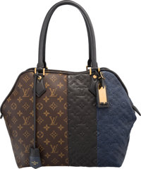 Louis Vuitton Limited Edition Black & Marine Monogram Empreinte Leather and Classic Monogram Canvas Blocks Zip Tote...