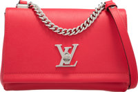 "Louis Vuitton Red Veau Cachemire Leather Lockme II Bag Excellent to Pristine Condition 9"" Width x 6"" Height..."