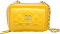 "Luxury Accessories:Bags, Chanel Yellow Quilted Patent Leather Camera Bag. ExcellentCondition. 5.5"" Width x 4"" Height x 4"" Depth. ..."