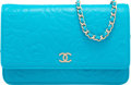 "Luxury Accessories:Bags, Chanel Turquoise Blue Camellia Embossed Lambskin Leather Wallet onChain Bag. Pristine Condition. 7.5"" Width x 5""Heig..."