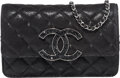 "Luxury Accessories:Bags, Chanel Black Quilted Suede & Crystal Wallet on Chain Bag.Excellent to Pristine Condition. 7.5"" Width x 5"" Height x1""..."