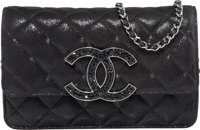 "Chanel Black Quilted Suede & Crystal Wallet on Chain Bag Excellent to Pristine Condition 7.5"" Wid"