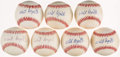Autographs:Baseballs, Whit Wyatt Single Signed Baseball Collection (7). ...