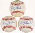 Autographs:Baseballs, Johnny Blanchard Single Signed Baseballs Lot of 3. ...