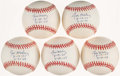 Autographs:Baseballs, Jim Maloney Single Signed Baseball Collection (5) - WithInscriptions. ...