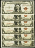 Small Size:World War II Emergency Notes, Fr. 2300 $1 1935A Hawaii Silver Certificates. Six Consecutive Examples. Choice Crisp Uncirculated.. ... (Total: 6 notes)