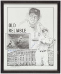 Baseball Collectibles:Others, Tommy Henrich and Mickey Owen Signed Print....