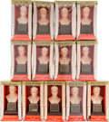 Baseball Collectibles:Others, 1963 Baseball Hall of Fame Busts Lot of 13 - All In Original Boxes. ...