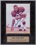 Football Collectibles:Photos, Jim Brown Signed Photo With Plaque. ...