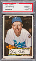 Baseball Cards:Singles (1950-1959), 1952 Topps Andy Pafko (Black Back) #1 PSA NM-MT 8 (OC)....