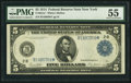 Fr. 851a* $5 1914 Federal Reserve Note PMG About Uncirculated 55