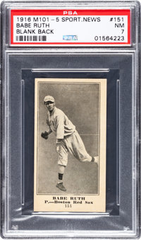 1916 M101-5 Blank Back (Sporting News) Babe Ruth Rookie #151 PSA NM 7