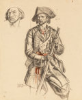 Paintings, Dean Cornwell (American, 1892-1960). Davy Crockett, study for mural in Tennessee State Building. Charcoal and pastel on ...