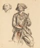 Dean Cornwell (American, 1892-1960) Davy Crockett, study for mural in Tennessee State Building Charcoal and pastel on...