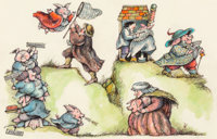Arnold Lobel (American, 1933-1987) Little Piggies, Mother Goose interior illustration Watercolor, pe