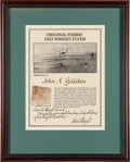 Transportation:Aviation, Wright Brothers: 1903 Kitty Hawk Plane Fabric Swatch with NickWright Signed Certificate....
