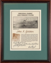 Wright Brothers: 1903 Kitty Hawk Plane Fabric Swatch with Nick Wright Signed Certificate