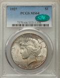 Peace Dollars: , 1927 $1 MS64 PCGS. CAC. PCGS Population: (2110/382). NGC Census:(1085/127). CDN: $400 Whsle. Bid for problem-free NGC/PCGS...