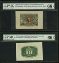 Fractional Currency:Second Issue, Fr. 1244sp 10¢ Second Issue Wide-Margin Pair PMG Gem Uncirculated 66 EPQ.. ... (Total: 2 notes)