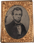 Political:Ferrotypes / Photo Badges (pre-1896), Abraham Lincoln: Gem-size Ferrotype Badge....