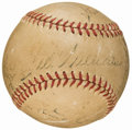 Baseball Collectibles:Balls, Babe Ruth, Ted Williams, & Earle Combs Multi Signed Baseball....