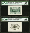 Fractional Currency:First Issue, Fr. 1313SP 50¢ First Issue Wide Margin Pair PMG Graded.. ...(Total: 2 notes)