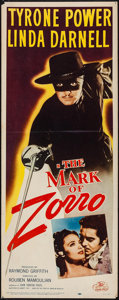"Movie Posters:Swashbuckler, The Mark of Zorro (20th Century Fox, R-1958). Insert (14"" X 36""). Swashbuckler.. ..."