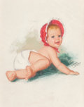 Mainstream Illustration, Gloria Moran (American, 20th Century). Baby. Pastel onboard. 19 x 14 in. (sight). Signed lower right. ...