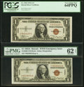 Small Size:World War II Emergency Notes, Fr. 2300 $1 1935A Hawaii Silver Certificates. Two Examples. PMG Uncirculated 62 EPQ and PCGS Very Choice New 64PPQ.. ... (Total: 2 notes)