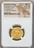 Ancients:Byzantine, Ancients: Maurice Tiberius (AD 582-602). AV solidus (4.36gm). NGC MS 5/5 - 3/5, clipped, wavy flan. ...