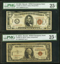 Small Size:World War II Emergency Notes, Fr. 2300 $1 1935A Hawaii Silver Certificate. A-C Block. PMG Very Fine 25 Net; Fr. 2301 $5 1934 Hawaii Federal Reserve Note. PM... (Total: 2 notes)